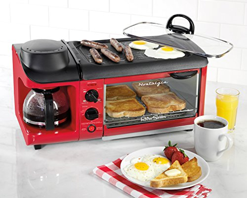 Nostalgia-BSET300RETRORED-Retro-Series-3-in-1-Family-Size-Breakfast-Station