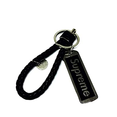 62608a88e871 Supreme Key chains Braided Leather Woven Tide Metal Ring Paint Strap Sup  Charms (Black)