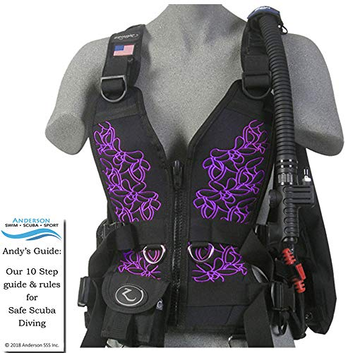 Zeagle Zena BCD Purple Floral Size Large - Womens Buoyancy Compensator Ripcord Weight System Twin Waist Hip Band Bundle Andersons Scuba Safety Guide ()