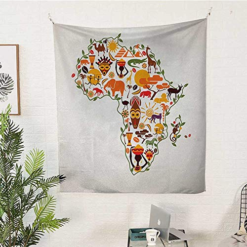 sunsunshine African Dormitory Tapestry Africa-Travel-Map-Plan-Traditional-Objects-Continental-Ethnic-Culture-Arts-Craft-Print Bedroom Tapestry 54W x 84L INCHMulti