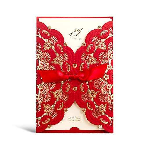 Elegant Red Laser Cut Wedding Invitations Cards with Lace Flower Ribbon Hollow Pattern Cardstock for Baby Shower Bridal Shower Engagement Birthday Fancy Party Invites Printable CW5113 (1 Piece) (Pattern Hollow Flower)