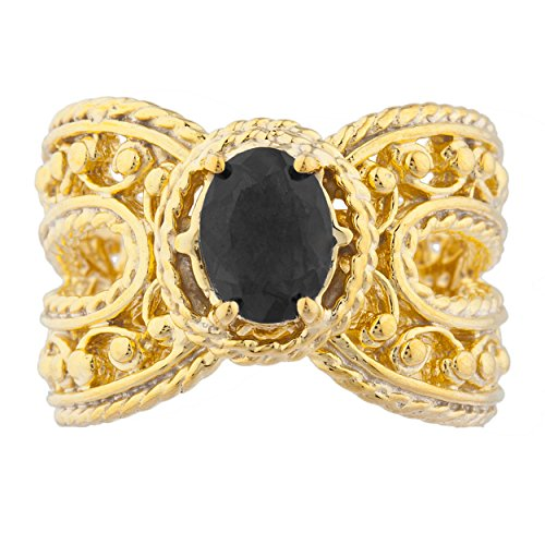 Onyx Oval Cocktail Design Ring 14Kt Yellow Gold Plated Over .925 Sterling Silver ()