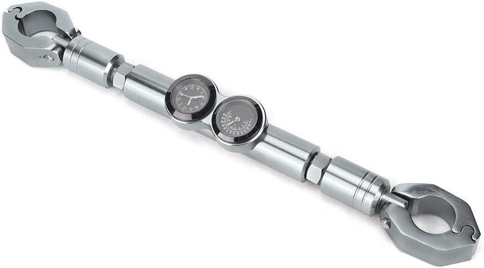 Schwarz Motorrad Lenker Querbalken Balance Bar Aluminiumlegierung Modifikation Zubeh/ör Rod mit Temperaturanzeige Time Clock