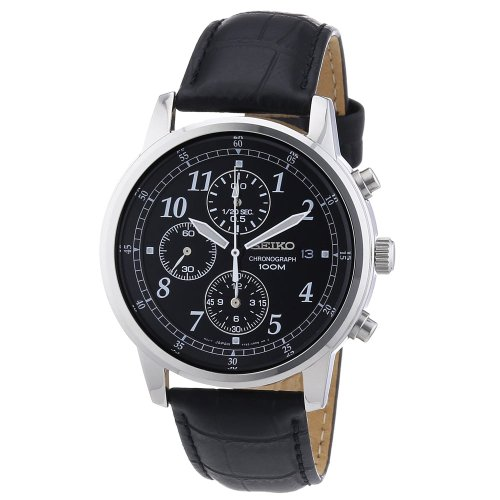 Seiko Men's SNDC33 Classic Black Leather Black Chronograph Dial Watch (Chronograph 100m Watch)