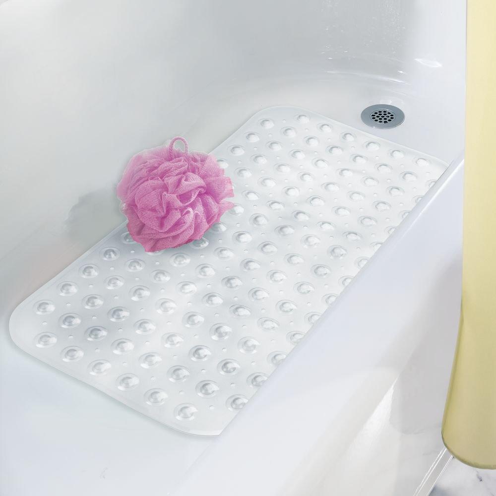 Tapete antideslizante de pl/ástico PVC con dise/ño punteado transparente Alfombra de ducha y ba/ñera con ventosas de fijaci/ón para evitar deslizamientos mDesign Alfombrilla para ba/ñera