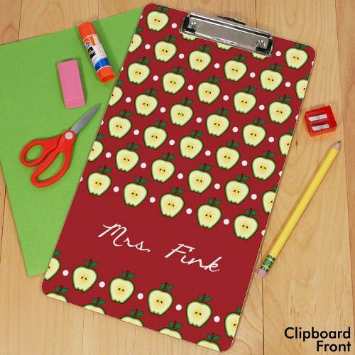 Personalized Teacher's Apple Clipboard, Letter Size, Hardboard, Dry Erase Marker Included