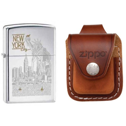 (Zippo 6357 New York City Statue Of Liberty High Polish Chrome Finish Lighter with Zippo Brown Leather Loop Pouch)
