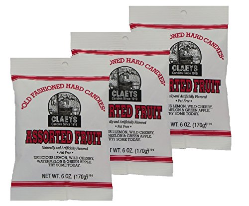 Claey's Assorted Fruit Hard Candy, 3 Package Deal ()