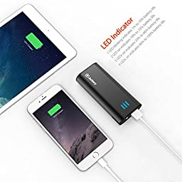 Jackery Bar Premium 6000 mAh External Battery Charger - Portable Charger and Power Bank with Panasonic Battery Cells and Aluminum Shell for iPhone 7, 7 Plus, iPad, Galaxy & Other Smart Devices (Black)