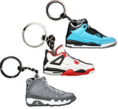 ef63434e539f0 3 PAIRS Air Jordan Michael Jordan Shoe Game Basketball Jumpman Key Chain  #37 #5 #44