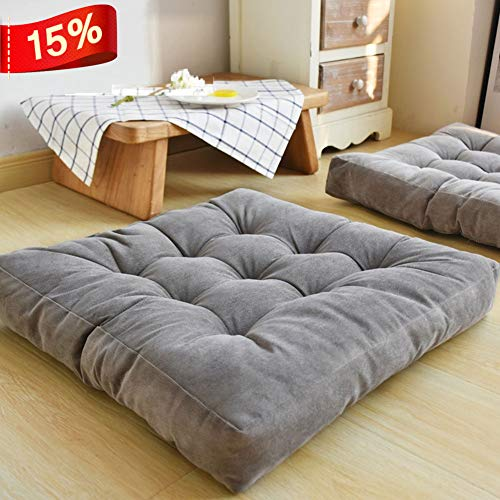 HIGOGOGO Solid Square Seat Cushion, Tufted Thicken Pillow Seat Corduroy Chair Pad Tatami Floor Cushion for Yoga Meditation Living Room Balcony Office Outdoor, Grey, 22x22 Inch