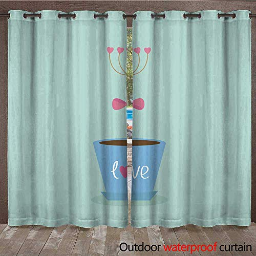RenteriaDecor Home Patio Outdoor Curtain Flower Hearts in The Pot Pink Bow Love Flat Blue W108 x L84