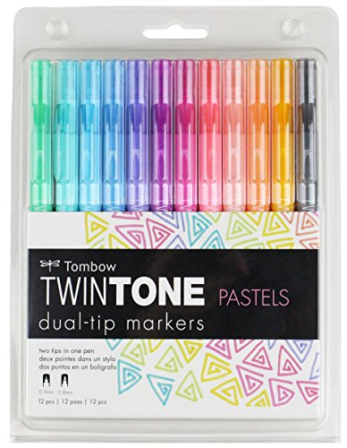 Tombow 61501 Twintone Marker Set, Pastel, 12-Pack. Double-Sided Markers Bold Precise Writing by Tombow