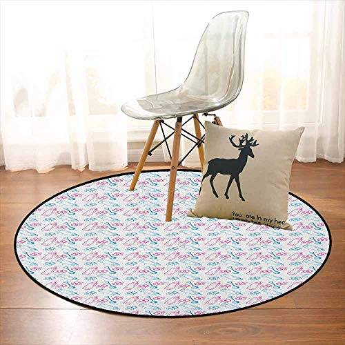 Baby 3D Printed Round Carpet Milk Bottles Pacifiers Rattles Pattern Hand Drawn Baby Toys Themed Ornate Image for Partial Areas D39.7 Inch Pink Blue White