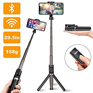 Viixm Selfie Stick Tripod, All in 1 Portable Extendable Selfie Stick with Detachable Wireless Remote & 1 Spare Battery, Aluminum Alloy Rod, Non Skid Tripod Feet. Suitable for Apple & Android Devices