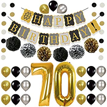 Vintage 70th BIRTHDAY DECORATIONS PARTY KIT Black Gold And Silver Paper PomPoms