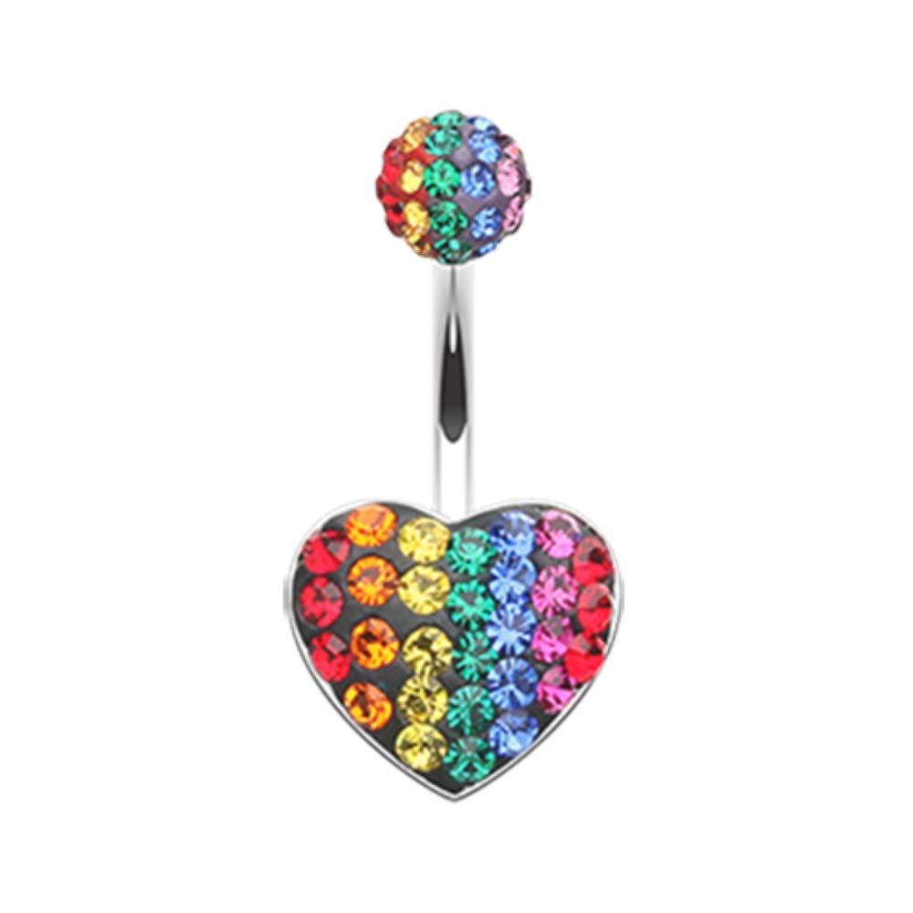 14 GA Rainbow Heart Multi-Sprinkle Dot Belly Button Ring 316L Surgical Stainless Steel Body Piercing Jewelry For Women and Men Davana Enterprises