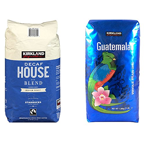 Kirkland Signature Decaf House Blend Coffee and Guatemalan Whole Bean Medium Roast Coffee Bundle - Includes Kirkland Signature Decaf House Blend Coffee 2 lb. and Guatemalan Whole Bean Coffee,3lbs -