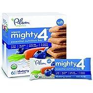 Plum Organics Mighty Snack Bars, Organic Toddler Snack, Blueberry, 4.02 oz, 6 Bars