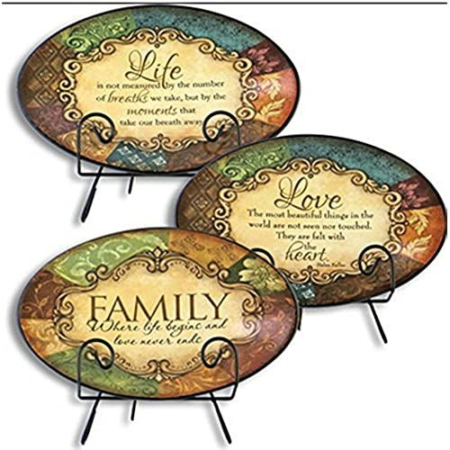 Gerson International Ceramic Plates with Metal Stands - Family - Love - Life 3 Plate Combo  sc 1 st  Amazon.com : decorative plates amazon - pezcame.com