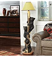BLACK FOREST DECOR Three Bears in a Tree Floor Lamp - Rustic Living Room or Home Décor