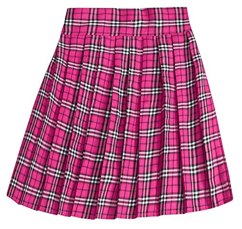 Women's High Waist School Uniform Cosplay Costume Plaid Pleated Skirt, Hot Pink, Tag L = US M -