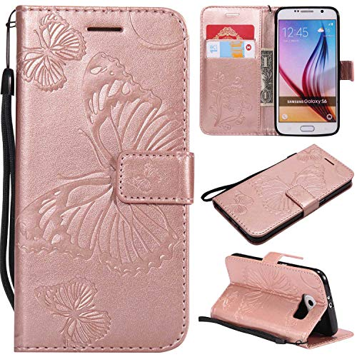 Price comparison product image Galaxy S6 Case,  UNEXTATI Galaxy S6 Flip Folio PU Leather Wallet Case with Magnetic Closure for Samsung Galaxy S6 (Rose Gold 1)