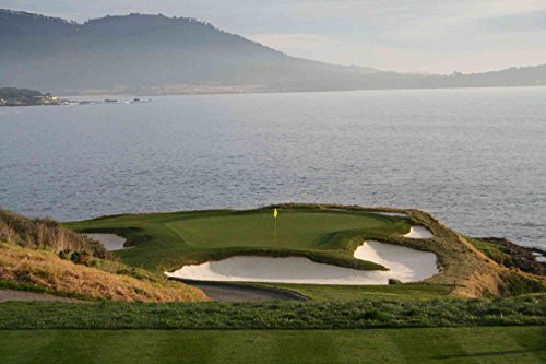 7.5-Feet wide by 5-Feet high. Prepasted robust wallpaper mural from a photo of: Golf Green Hole #7 in Pebble Beach California..Easy to install. See our video.