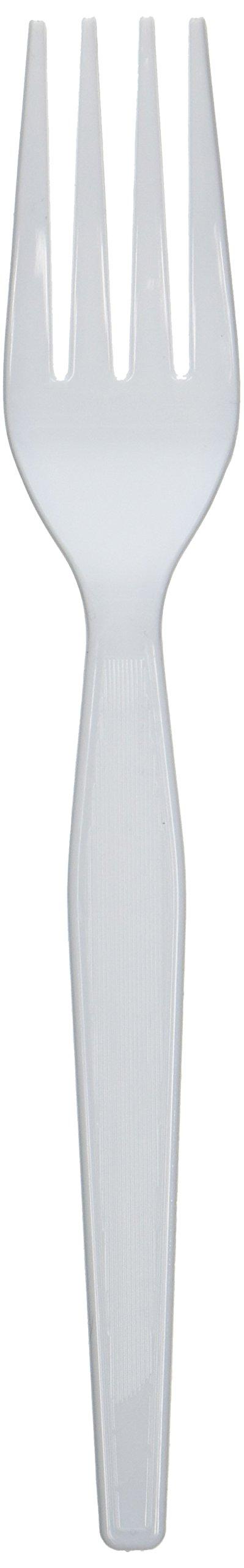 Dixie FH207 Plastic Cutlery, Heavyweight Forks, White, 100/Box