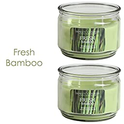 Hosley Set of 2 Fresh Bamboo Highly Scented, 2 Wick, 10 Oz wax, Jar Candle. Ideal votive GIFT for party favor, weddings, Spa, Reiki, Meditation, Bathroom settings