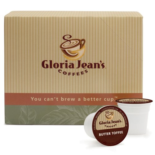 Gloria Jean's Coffees, Butter Toffee, 24-Count K-Cup Portion Pack for Keurig Brewers (Pack of 2) Toffee Flavored Regular Coffee