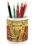 Ambesonne Elephant Pencil Pen Holder, Yellow Toned Elephant Motif on Door Thai Temple Spirituality Statue Classic, Printed Ceramic Pencil Pen Holder for Desk Office Accessory, Fuchsia Mustard