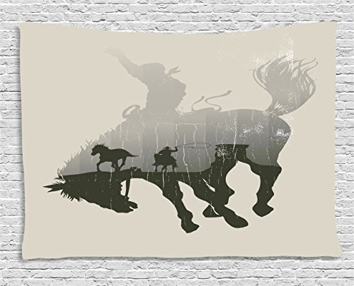 Ambesonne Apartment Decor Tapestry by, Western Theme A Cowboy Chasing Wild Horse in Desert on a Rodeo Cowboy, Wall Hanging for Bedroom Living Room Dorm, 80WX60L Inches, Dust and Black