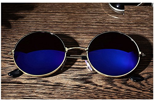 AMAZZANG-Men Women Retro Vintage Round Mirrored Sunglasses Eyewear Outdoor Sports Glasses - Eyes Blue Steve Mcqueen