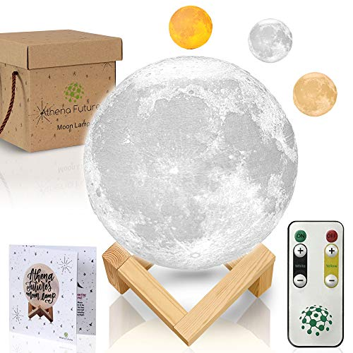 3D Moon Lamp - Seamless - 3 Color Moon Night Light with Stand - Mood Lamp Book, Globe, Cool Lamp, USB Charging, with Wooden Stand, Box, Kids, Moonlight LED, 5.9 in ()