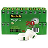 Scotch Magic Tape, Standard Width, 3/4 x 1000 Inches, Boxed, 20 Rolls (810K20)