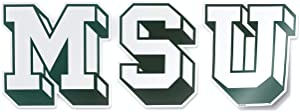Michigan State Spartans Vintage MSU Block Letters College Vault Retro Logo Car Window Decal Vinyl Bumper Sticker Laptop Sticker Made in East Lansing, Michigan USA