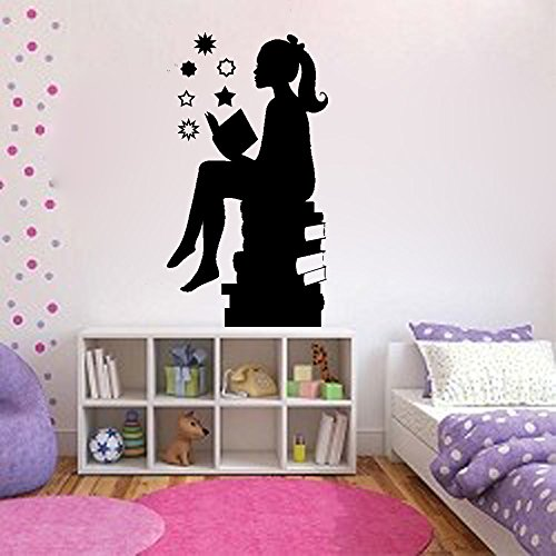 Silouette of Girl Reading Books-girls Room Vinyl Wall Decal (BLACK, 8X14)