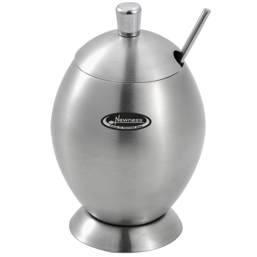 Newness Stainless Steel Sugar Bowl with Lid and Sugar Spoon for Home, Egg Shape, 9.8 Ounces(290 Milliliter)
