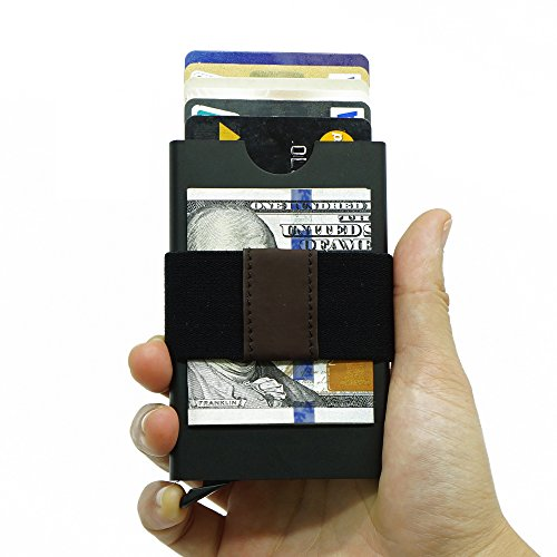 Smart Minimalist Wallet Slim RFID Blocking Credit Card Holder Pop Up Design For Mens/Womens (Black)