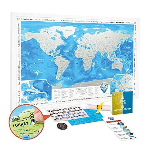 (Scratch off World Map Framed - Premium Detailed World Travel Map Scratch off 35x25 with White Frame - Award Winning Large Silver Foil World Map Scratch off Poster with USA/Canada States)