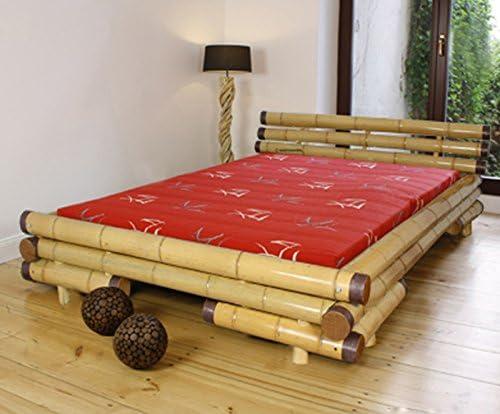 PEGANE Cama con somier de bambú, Dim: 200 x 200 cm ...