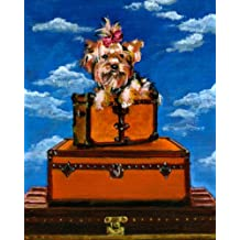 Yorkshire Terrier on Vintage Haute Couture Inspired Vintage Luggage 11x14 Fine Art Print