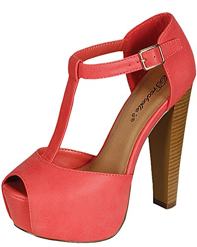 Breckelles Womens BRINA Peep Toe High Heel T-Strap Platform Sandals8.5 B(M) USCoral