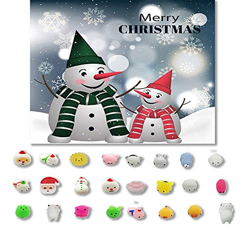 Yliquor 24PC Christmas Toys Mini Cute Squeeze Funny Toy Soft Stress and Anxiety Relief Toys DIY Decor (Multicolor)