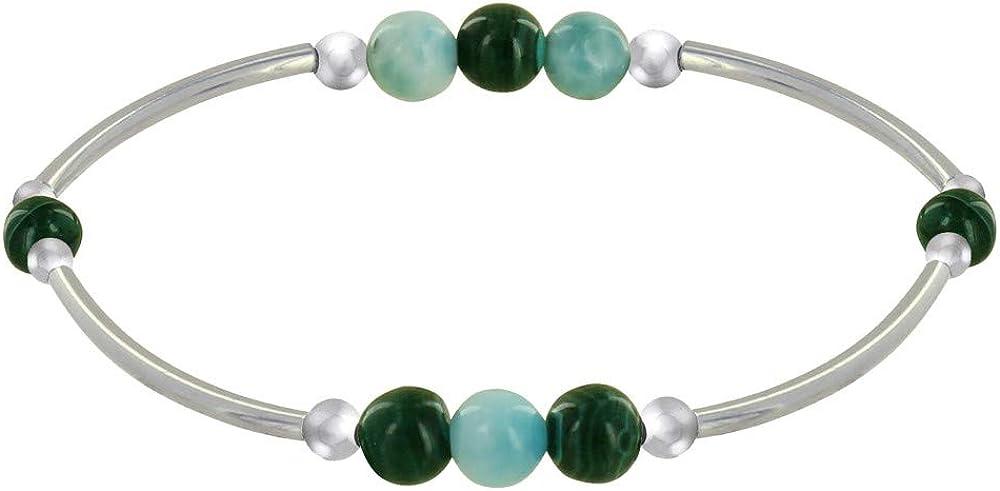 Joyas Les Poulettes - Pulsera Elastica Tubos de Plata Rodio Tres Perlas de Larimar 5 Perlas de Malaquita