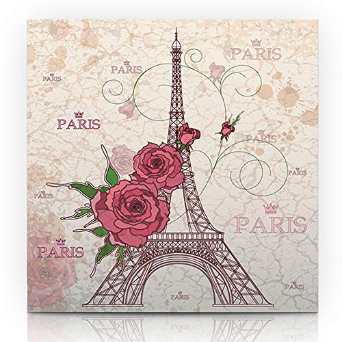 """Ahawoso Canvas Print Wall Art Painting 12""""x16"""" Europe French Vintage Eiffel Tower On Urban Abstract Paris Post Stamp Border City Page Gallery Wrapped Artwork Home Living Room Office"""