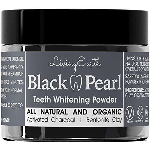 Black Pearl Activated Charcoal Teeth Whitening Toothpaste - Organic Coconut Charcoal - Freshens Breath - Remineralizing Tooth Powder - Anti-Bacterial - Made In USA - Glass Jar ()