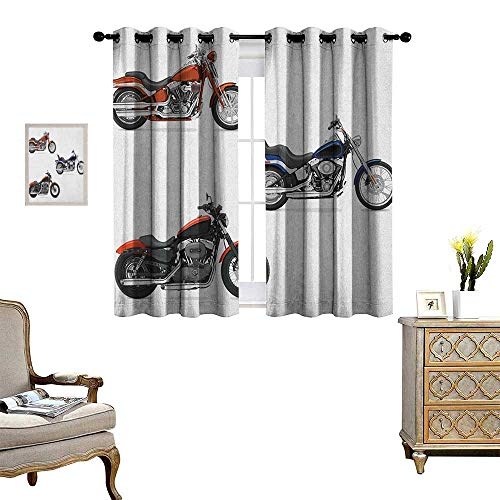 Warm Family Motorcycle Window Curtain Drape Illustration of Three Motorcycles Freedom Transport Risky Extreme Sports Theme Decorative Curtains for Living Room W55 x L39 Orange Black
