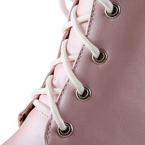 Allhqfashion Donna Morbido Materiale Stringato Tacco Chiuso Tacchi Gattino Stivali Solidi Rosa